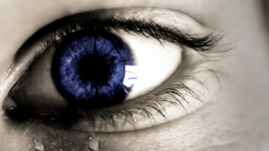 Eye showing tears