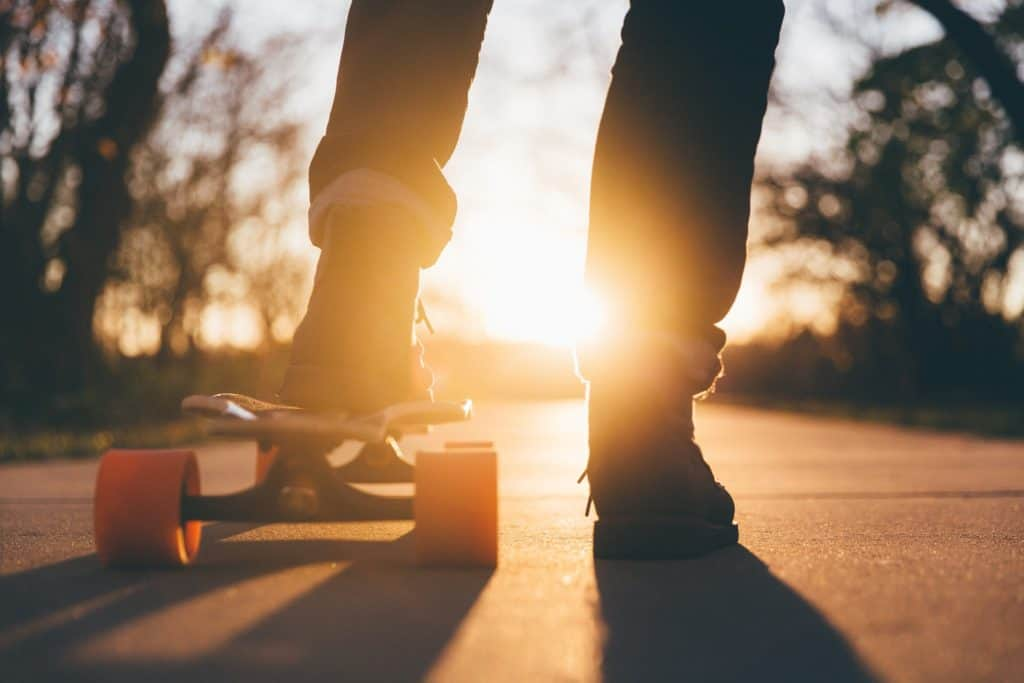 Alice Campbell Romano - skateboarding in the sunset